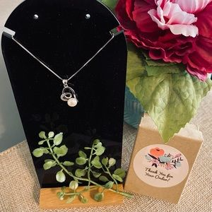 Sterling Silver/CZ and Pearl Heart Necklace